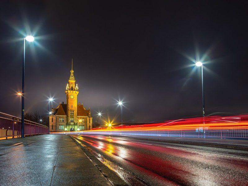 night, road, architecture